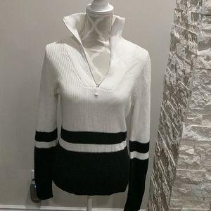 NWT Lauren Ralph Lauren Blk & wht half zip sweater